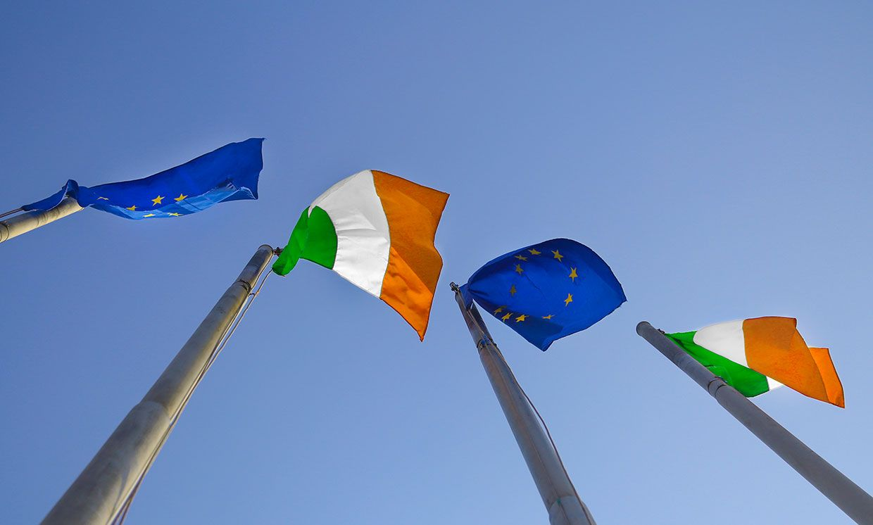 Flags of Ireland and EU