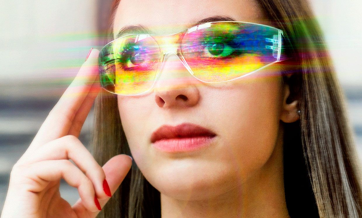Futuristic image of a woman with augmented reality glasses