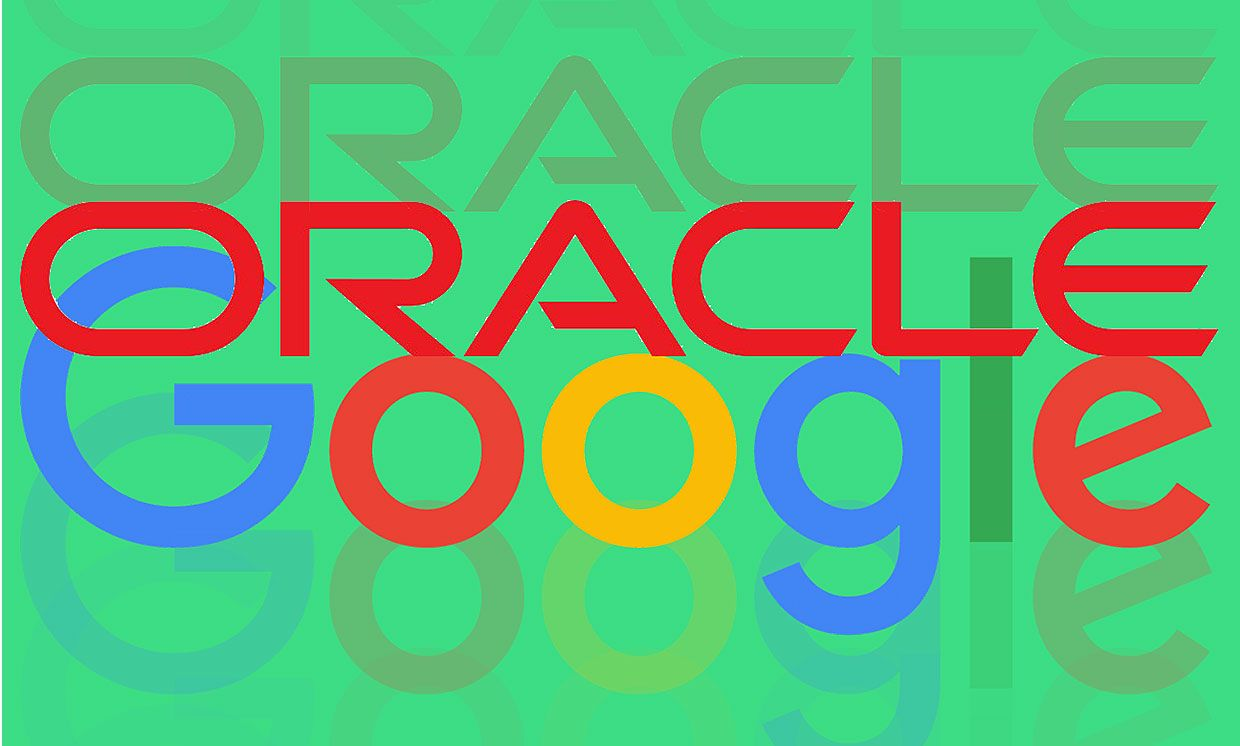 Google and Oracle logos intermixed on a background matching Android green.