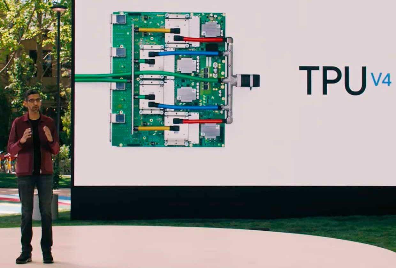 Google CEO Sundar Pichai presenting about the company's latest AI chip the TPU V4 (Tensor Processing Unit version 4).