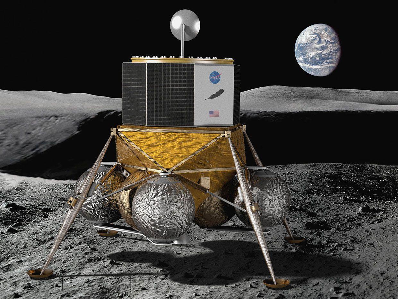 Illustration from Blue Origin imagining Blue Moon on the moon.