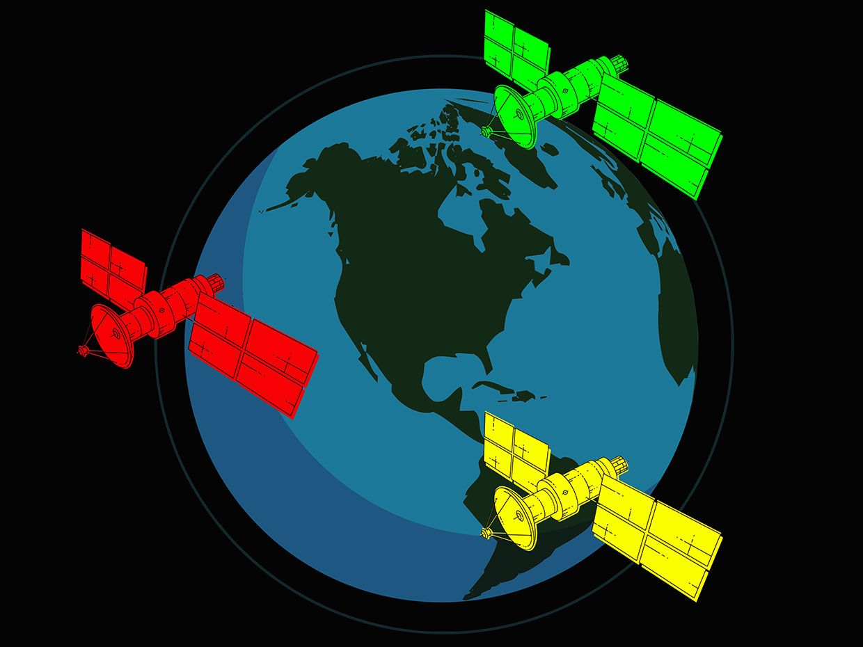 Illustration of 3 satellites over Earth, one red, one yellow and one green.