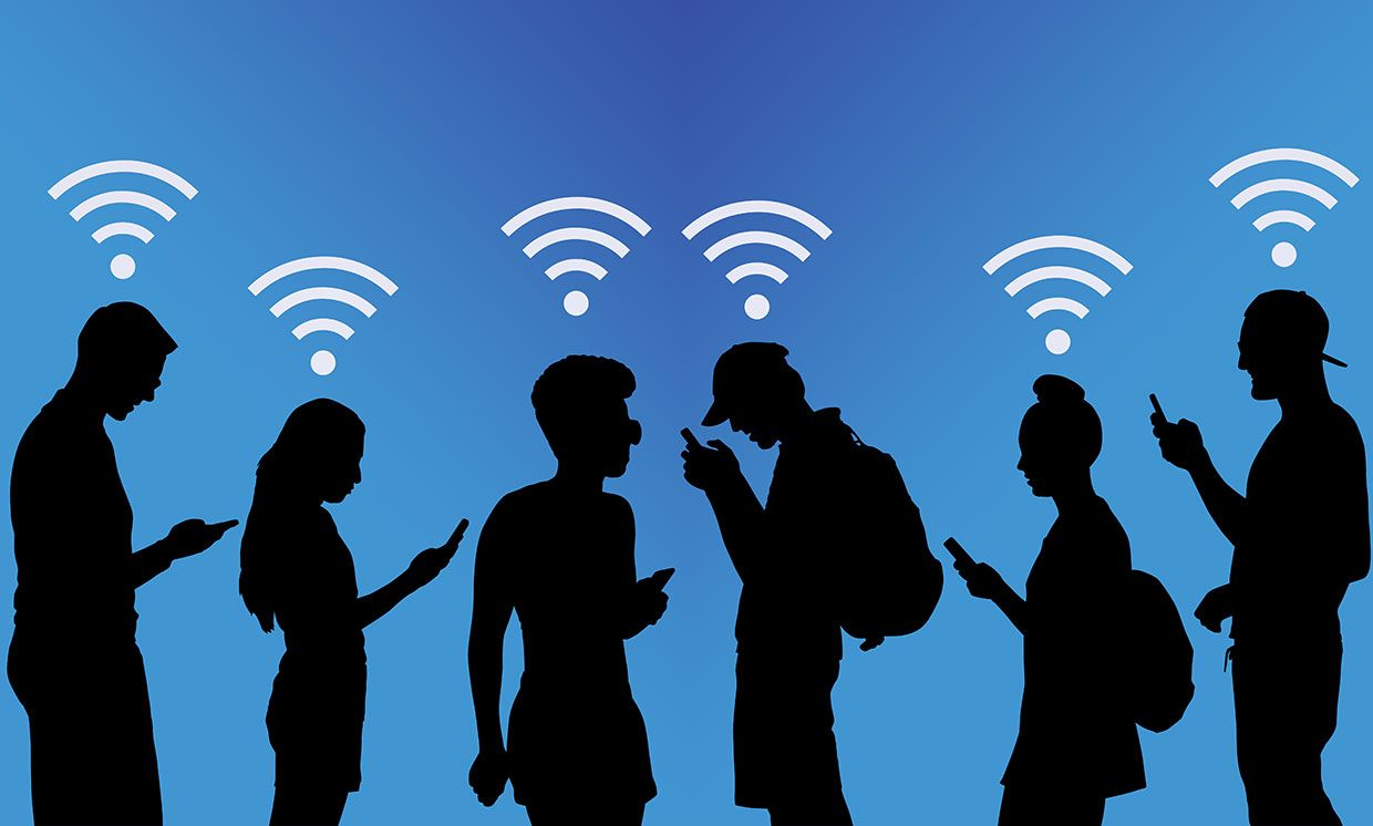 Illustration of 6 people with devices and wifi symbols over their heads.