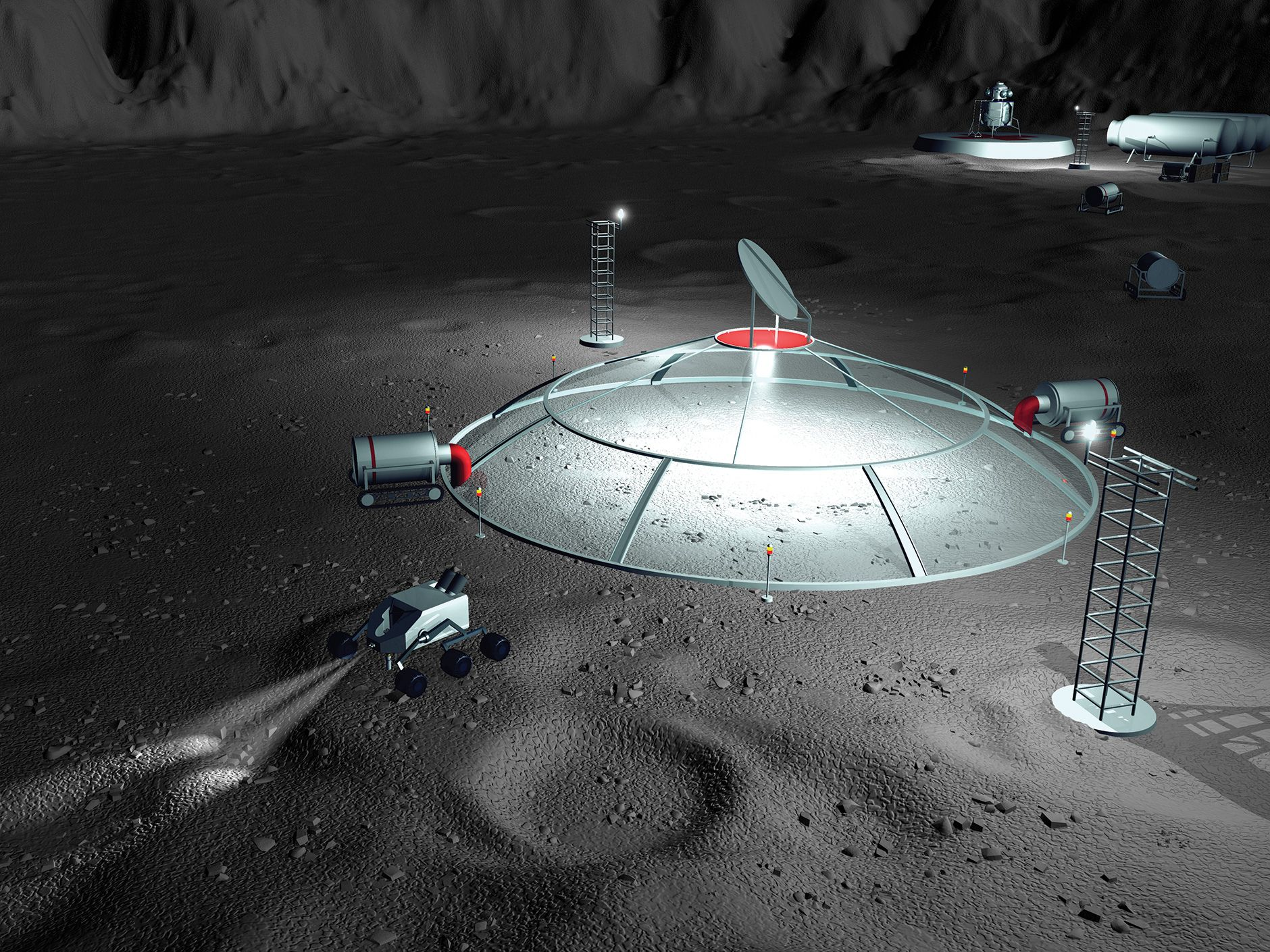 Illustration of a design for a possible mining operation on the moon.