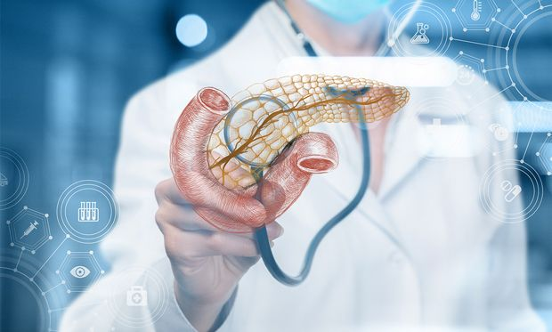 Illustration of a doctor diagnosing a digital rendering of a pancreas.