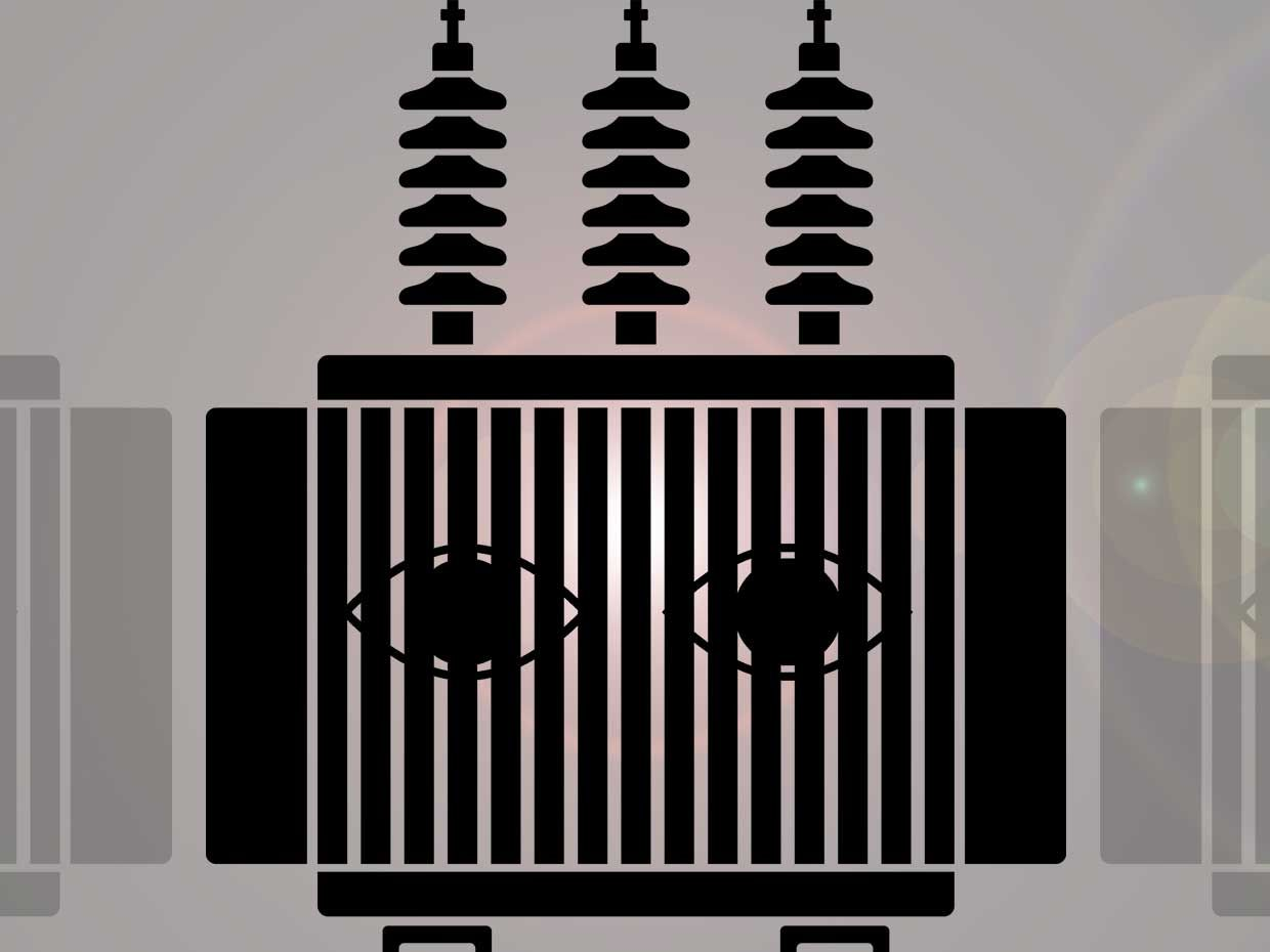 Illustration of a electrical transformer with eyes