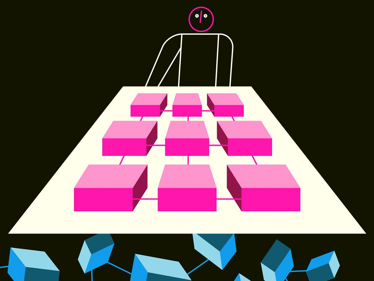 Illustration of a figure looking at 3D pink squares.