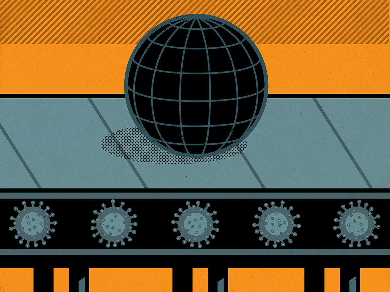Illustration of a globe riding a conveyer belt with COVID-19 rollers.