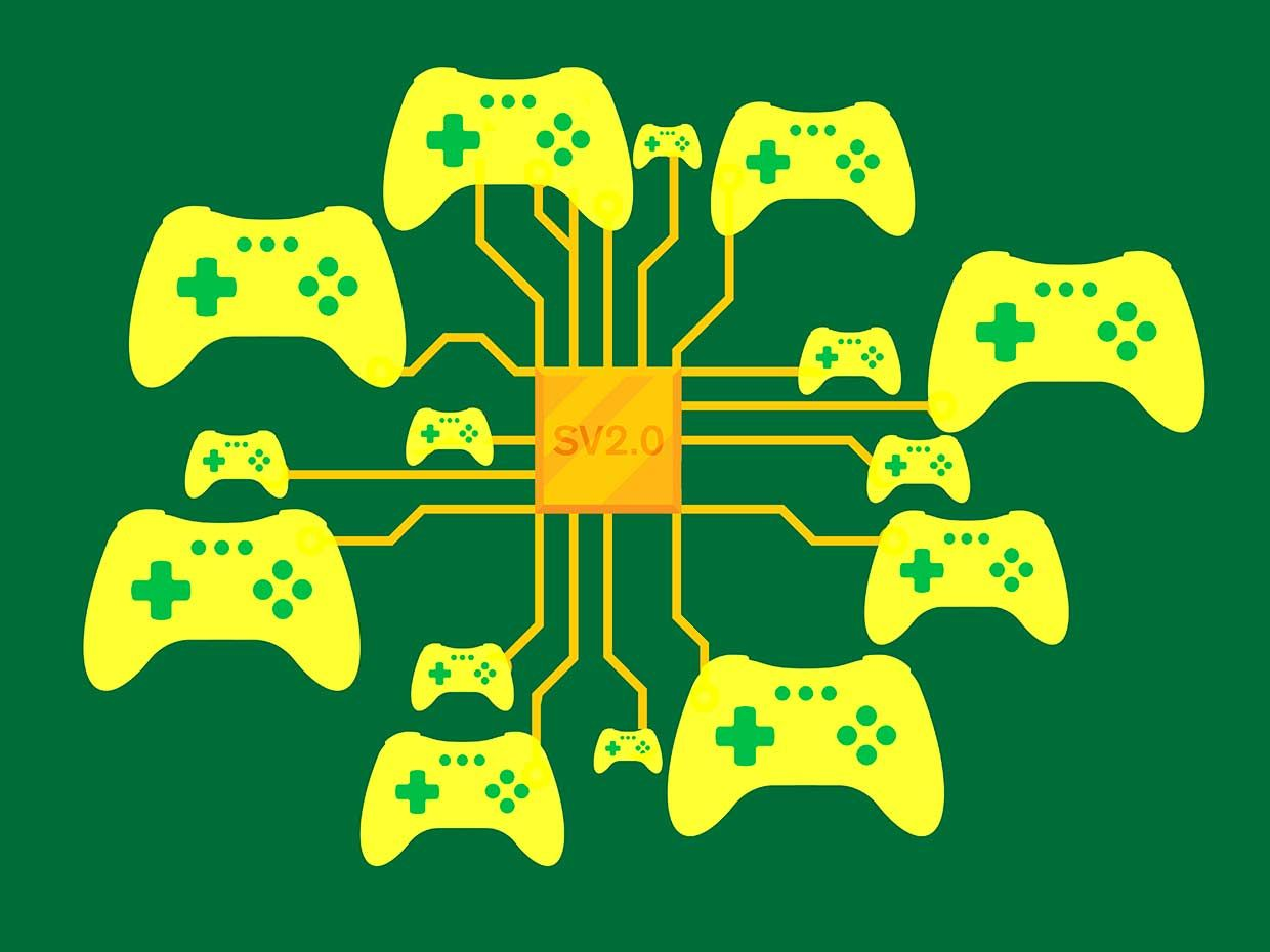 Illustration of a gold circuit board with game controllers