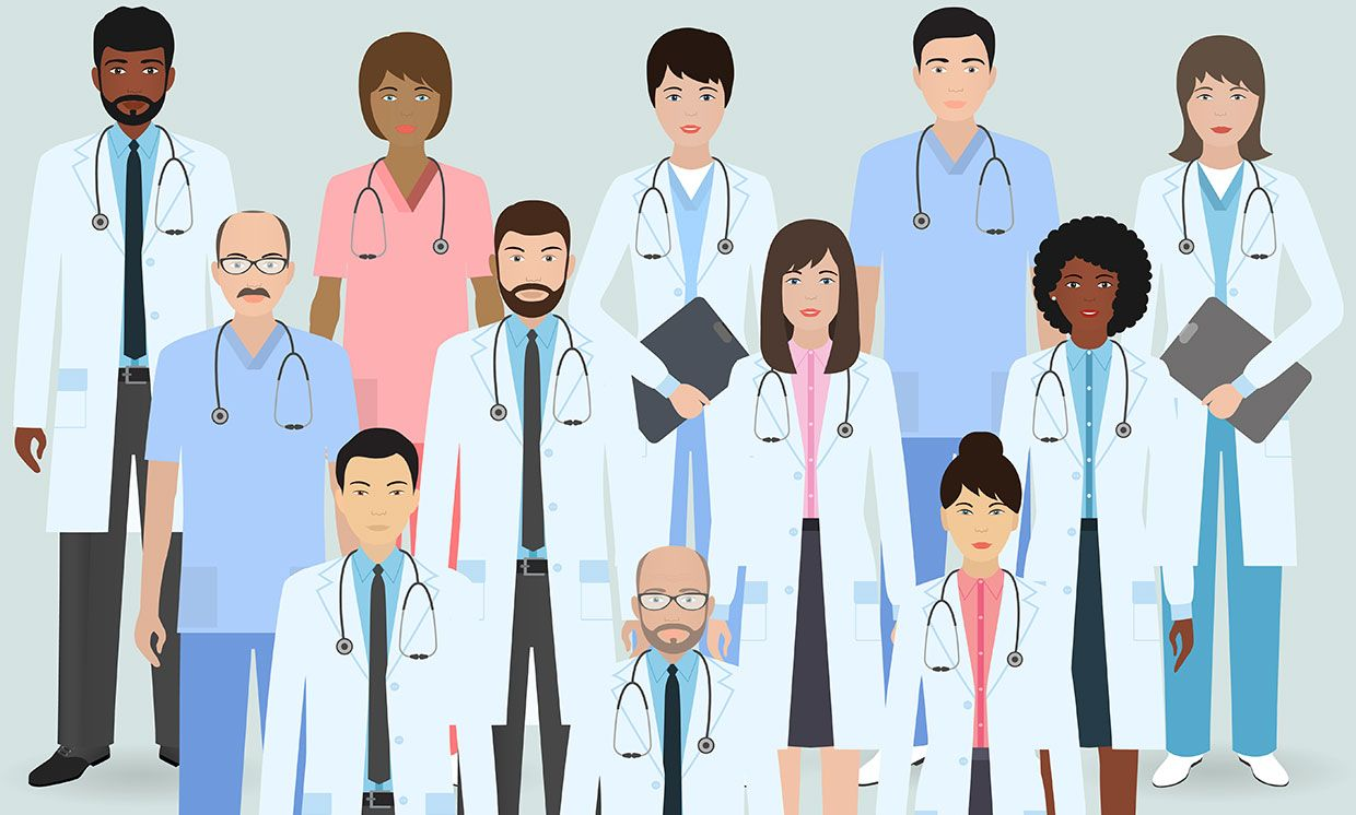 Illustration of a group of doctors.