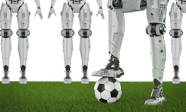 Illustration of a group of robots surrounding a robot with a soccer ball.
