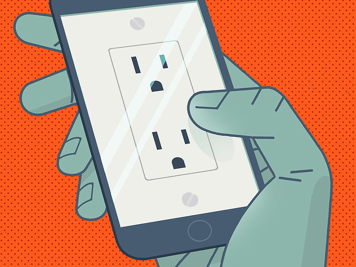 Illustration of a hand holding a smart phone with plugs on the screen.