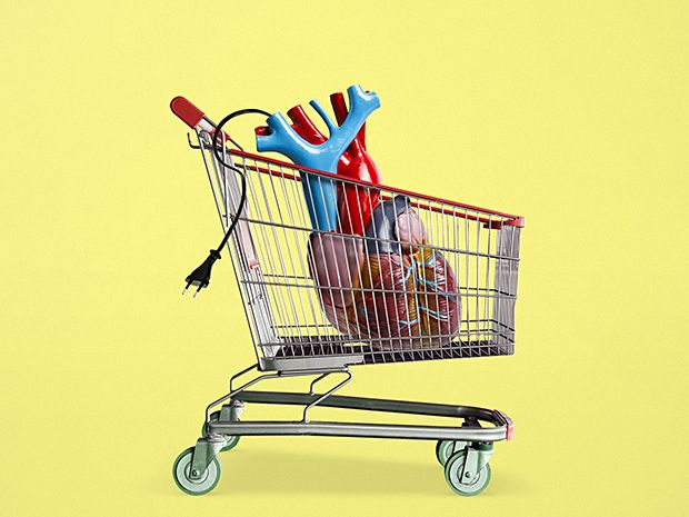 Illustration of a heart in a shopping cart