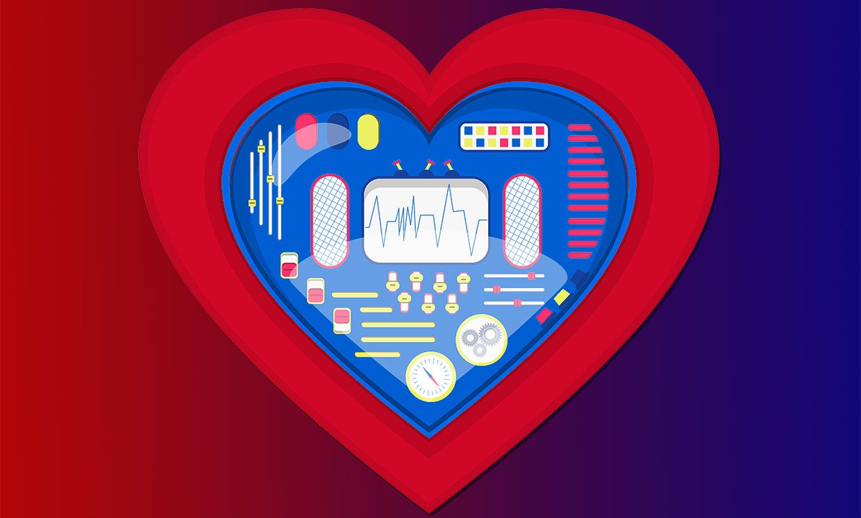 Illustration of a heart with dials and switches