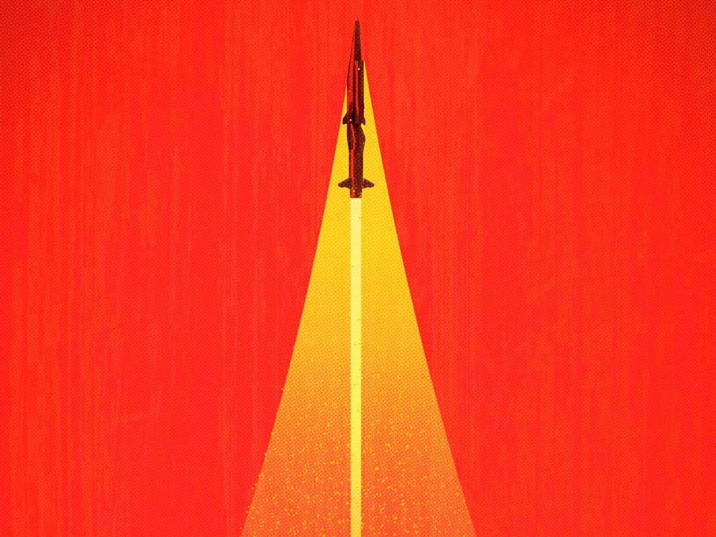 Illustration of a jet flying upwards.