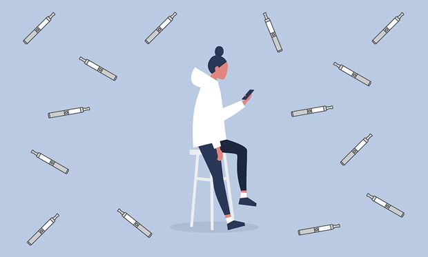 Illustration of a millennial on a phone, surrounded by vapes