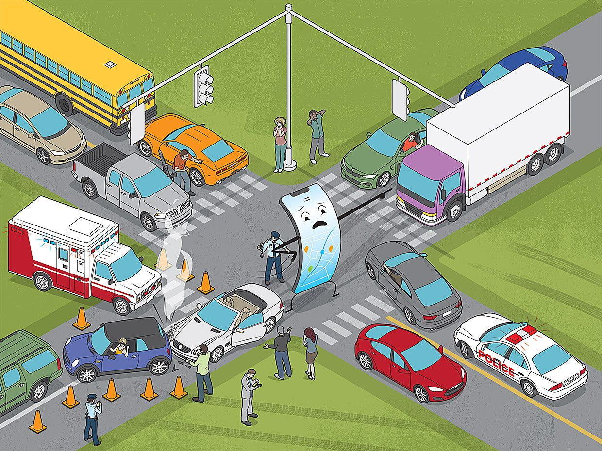 Illustration of a phone attempting to direct traffic surrounded by traffic accidents.