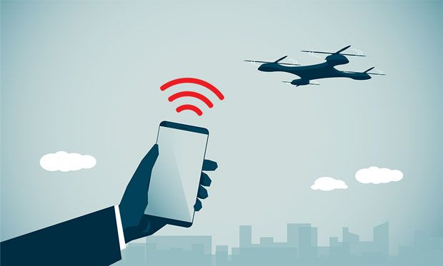 Illustration of a phone controlling a drone.