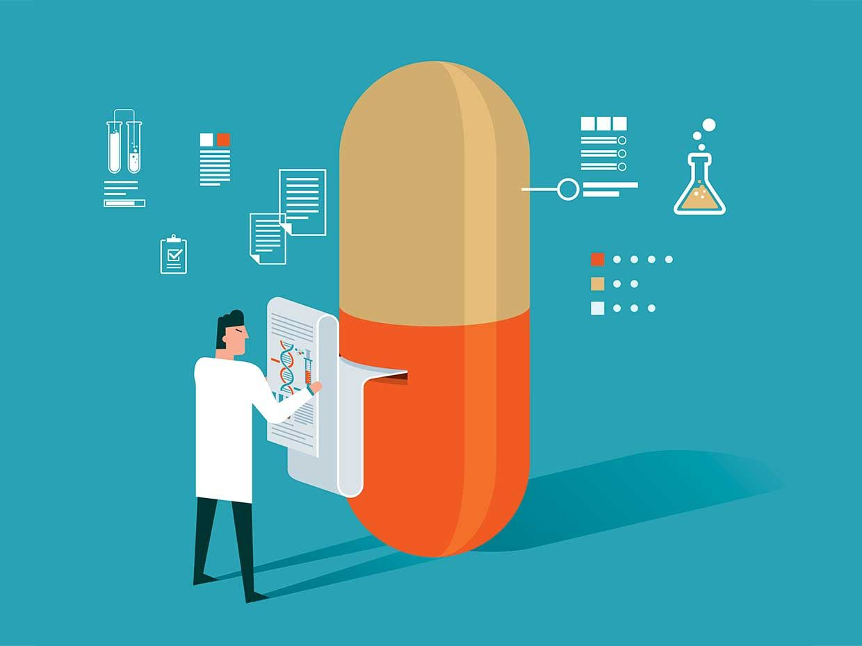 Illustration of a pill with data read outs and icons