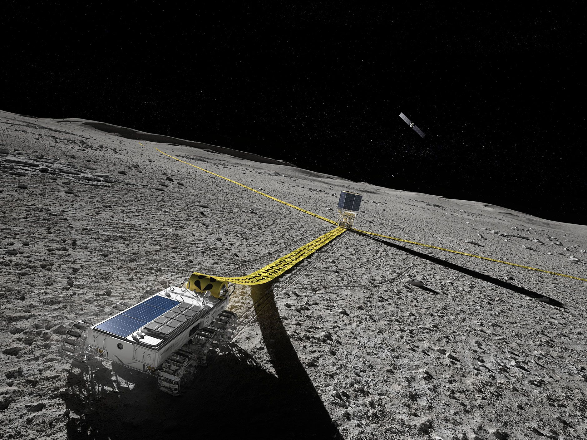 Illustration of a rover laying down flexible antenna on the lunar surface.