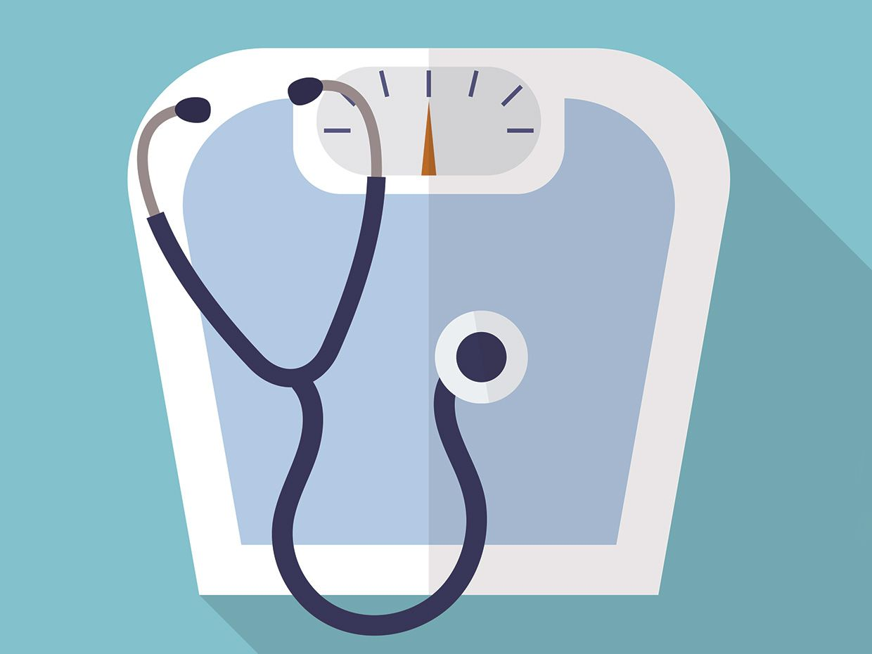 Illustration of a stethoscope on a scale.