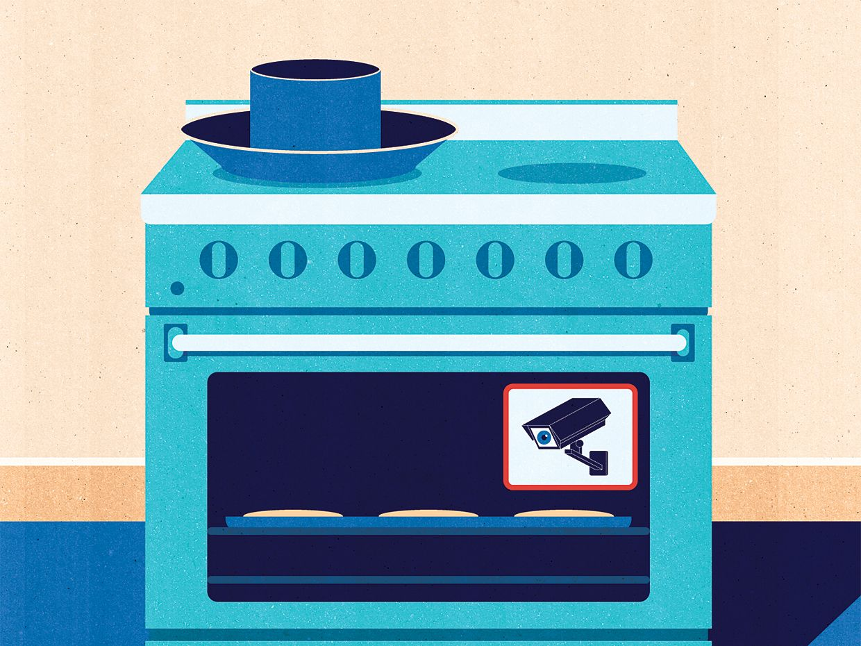 illustration of a stove containing a monitoring camera.