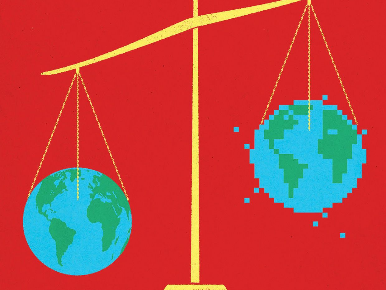 Illustration of a suspended balance scale weighing two planet earths.