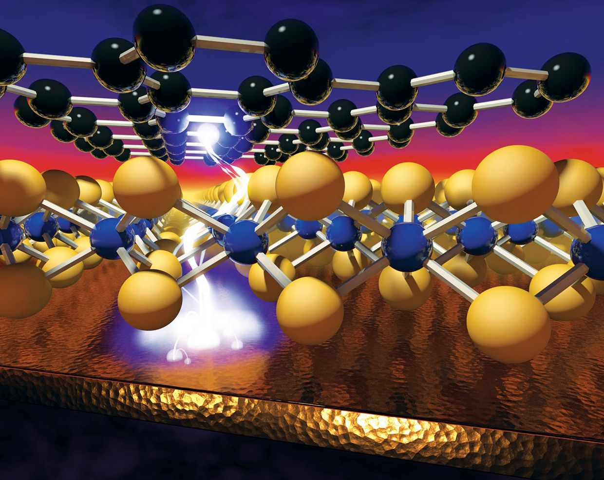 Illustration of a voltage-induced memory effect in monolayer nanomaterials, which layer to create 'atomristors,' the thinnest memory storage device that could lead to faster, smaller and smarter computer chips.