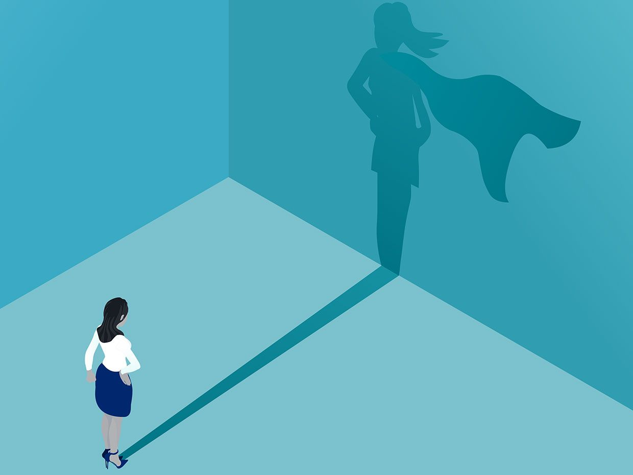 Illustration of a woman whose shadow is that of a superhero.