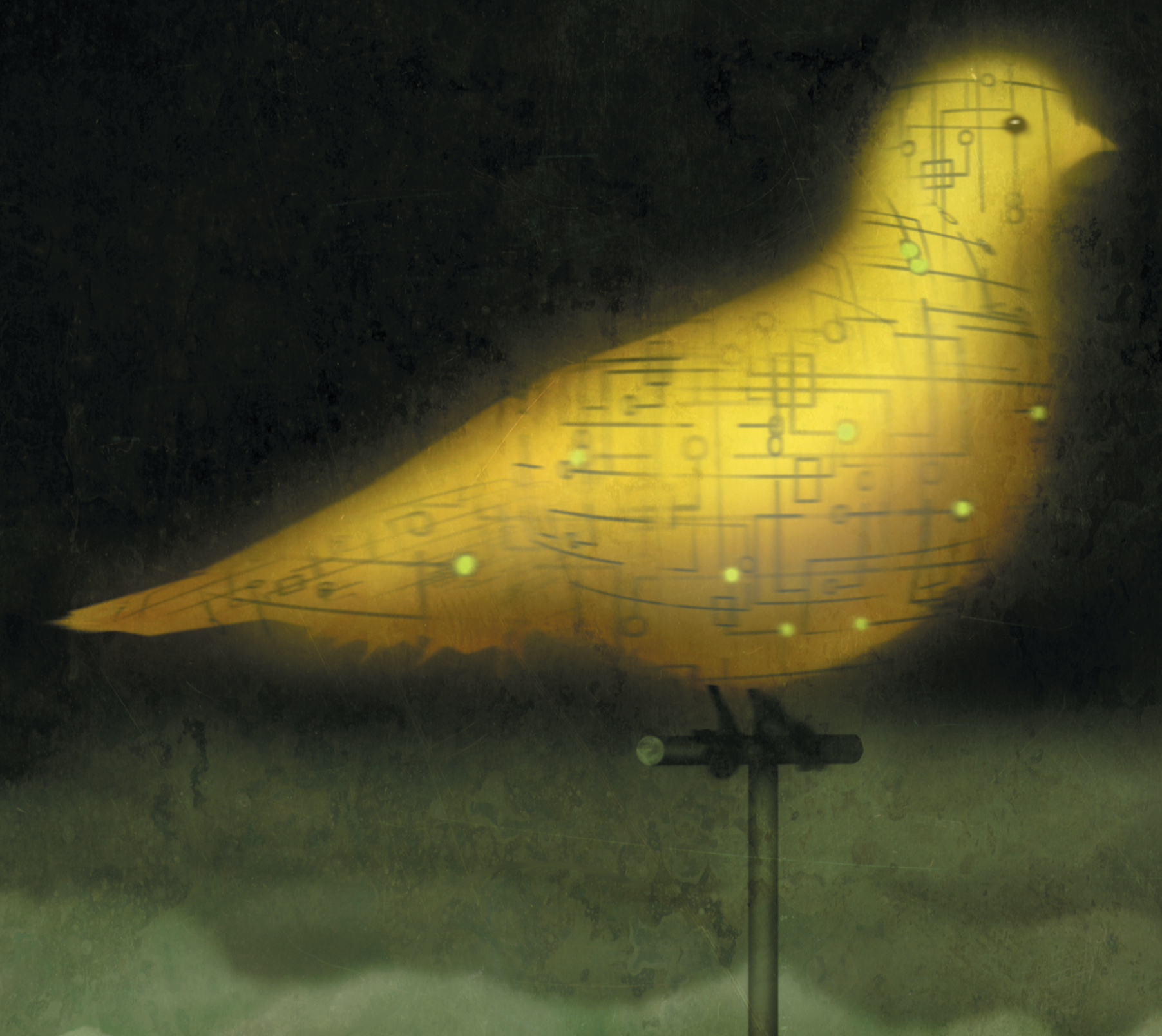 Illustration of a yellow bird covered in lines and dots.