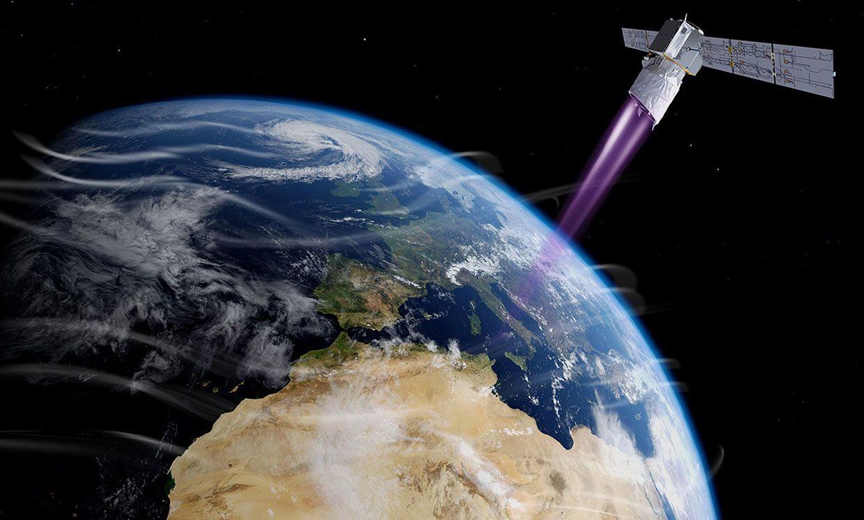 Illustration of Aeolus in orbit