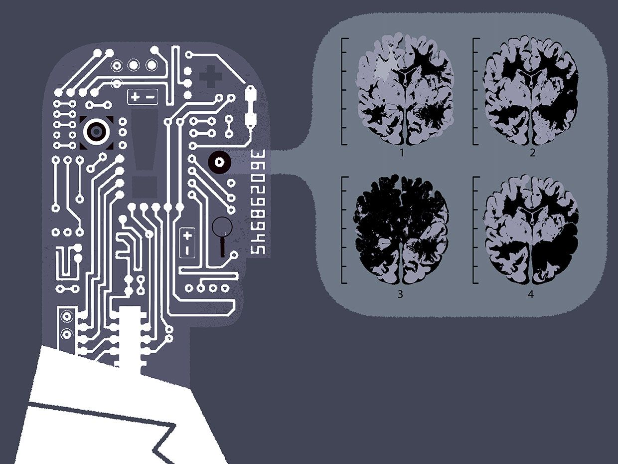 Illustration of an AI doctor examining medical images