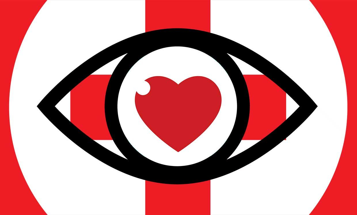 Illustration of an eye with a heart over a medical symbol