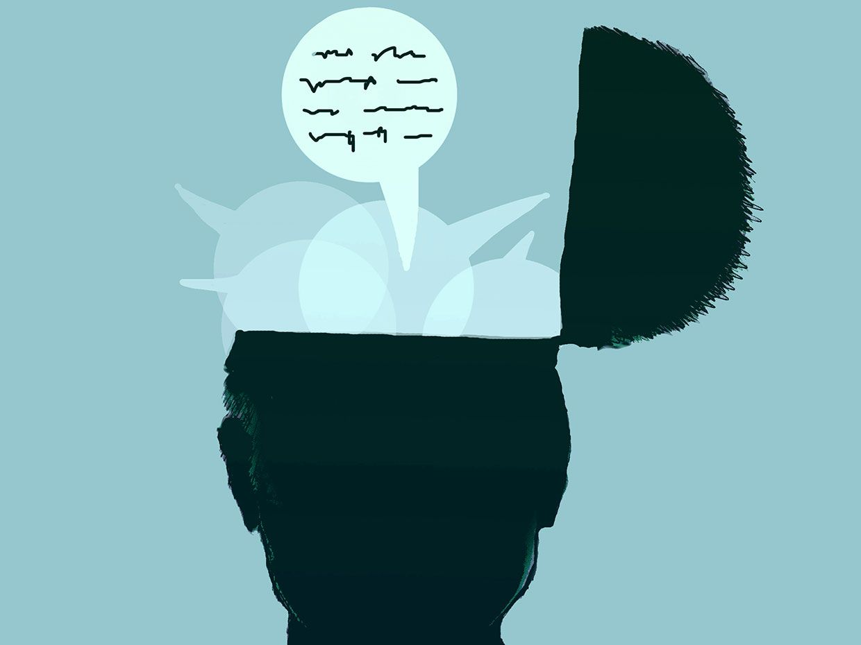 Illustration of an open brain with speech bubbles and sentences.