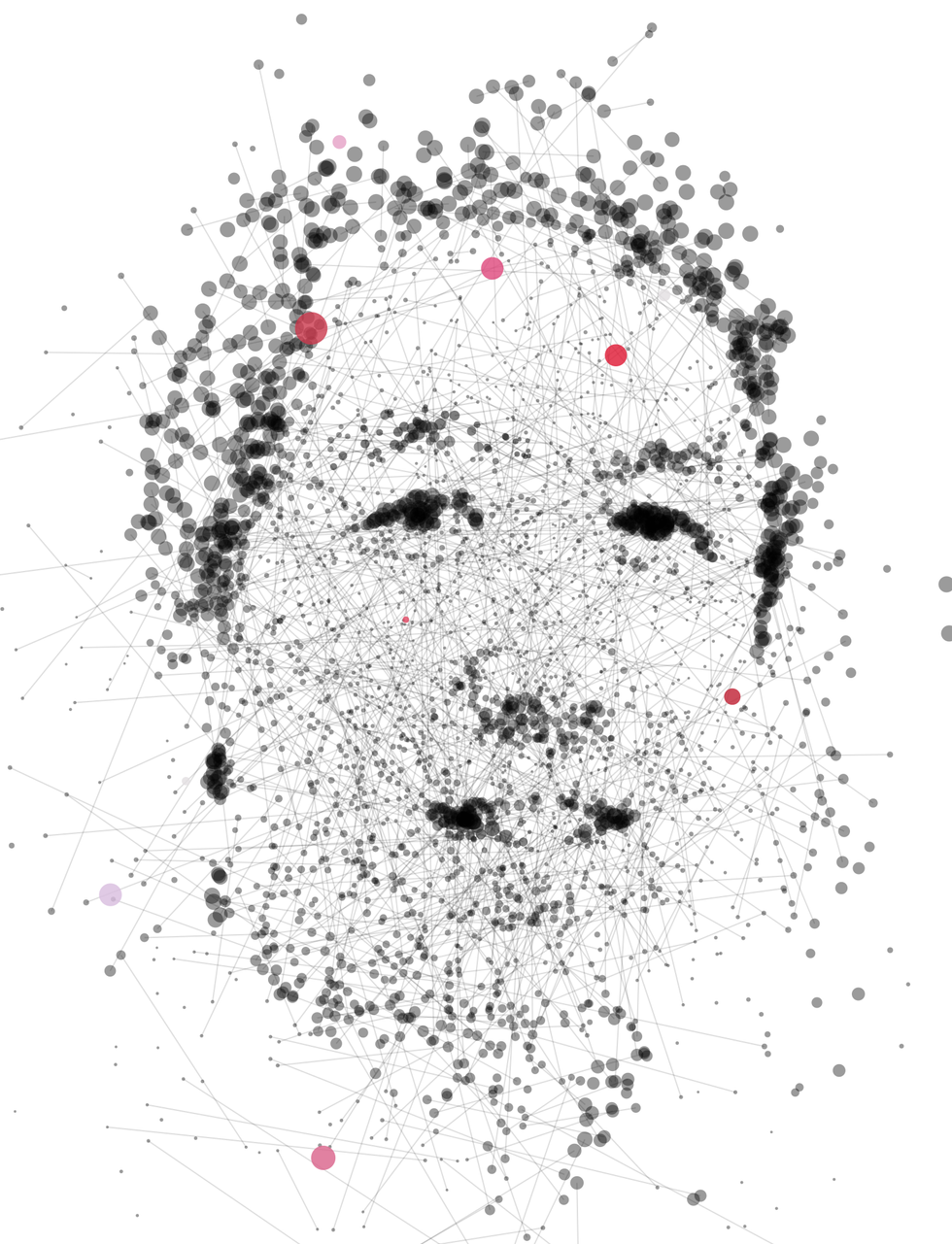 Illustration of Andrew Ng made of dots and lines.