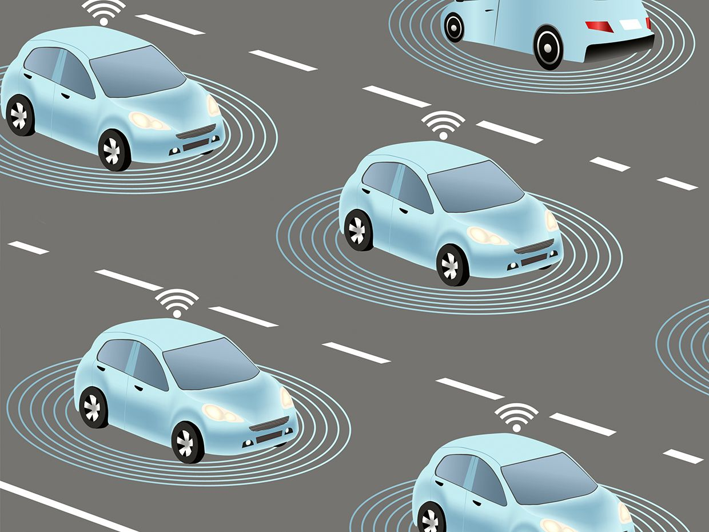Illustration of autonomous cars