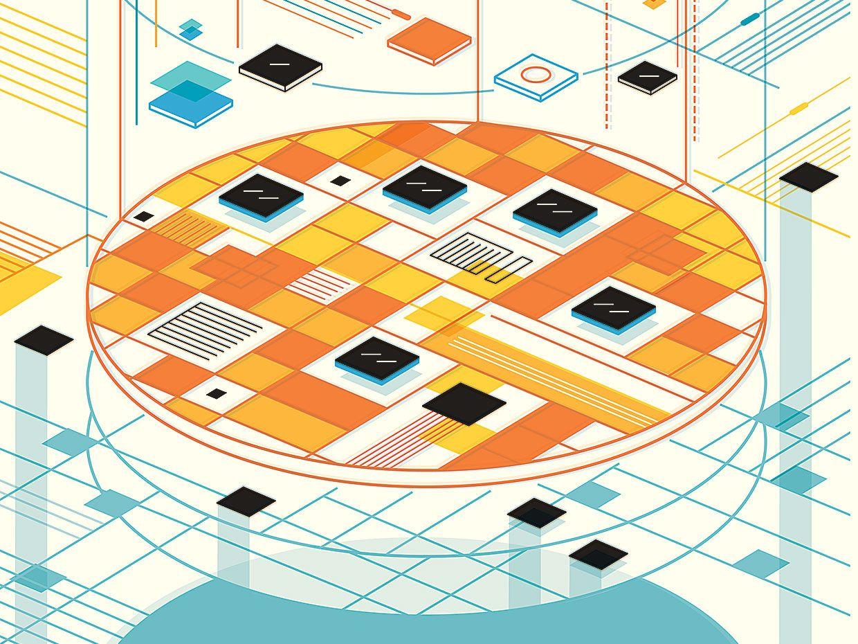 Illustration of bonded computer chiplets