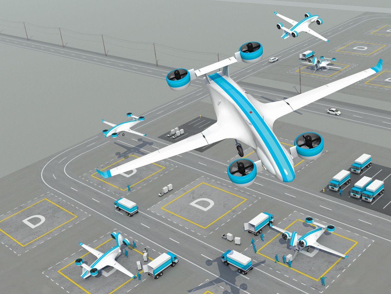 Illustration of cargo drones on a landing field.