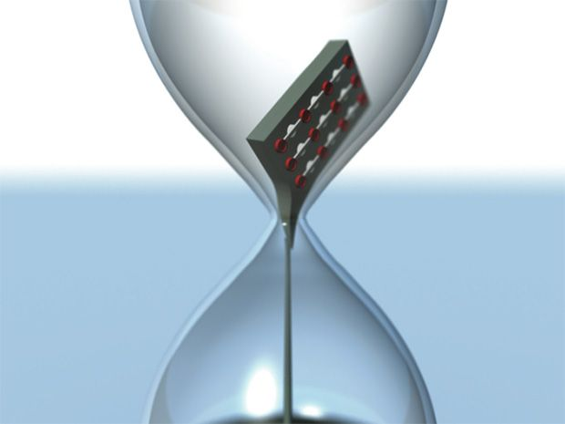 illustration of chip inside an hourglass