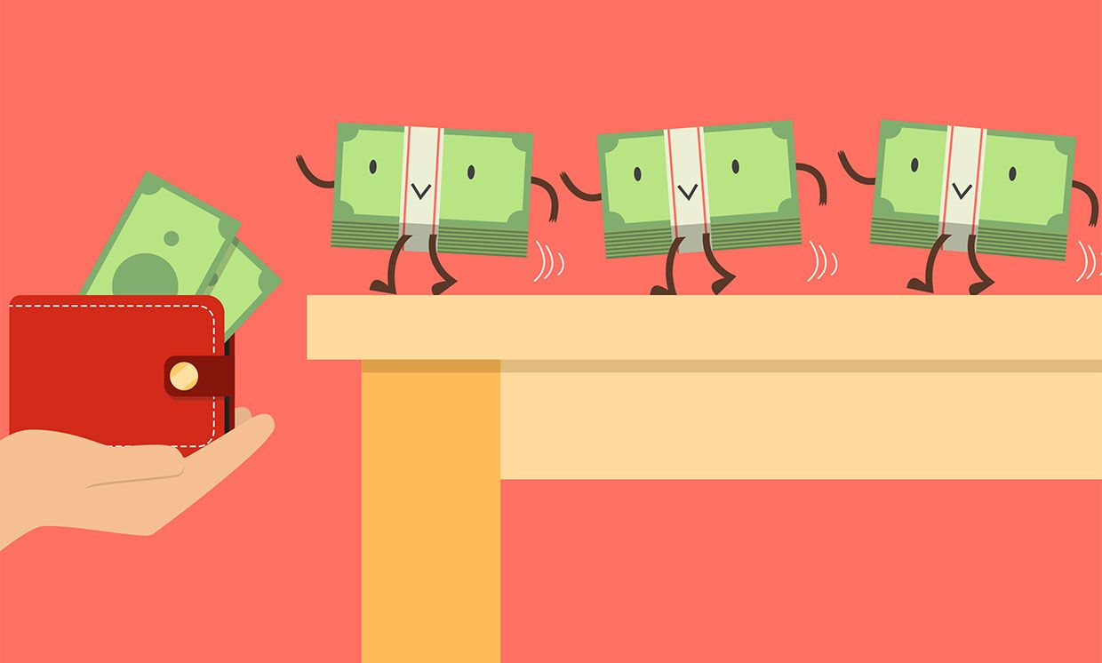 Illustration of dollar bills with faces walking into a wallet.