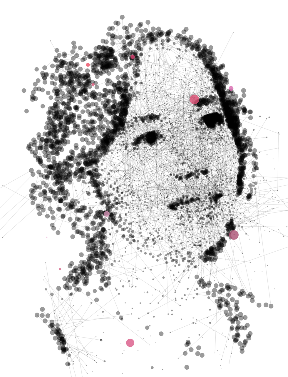 Illustration of Fei-Fei Li made of dots and lines.