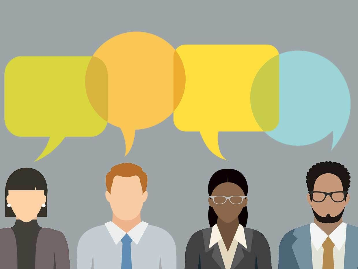 Illustration of four people talking with overlapping word bubbles.