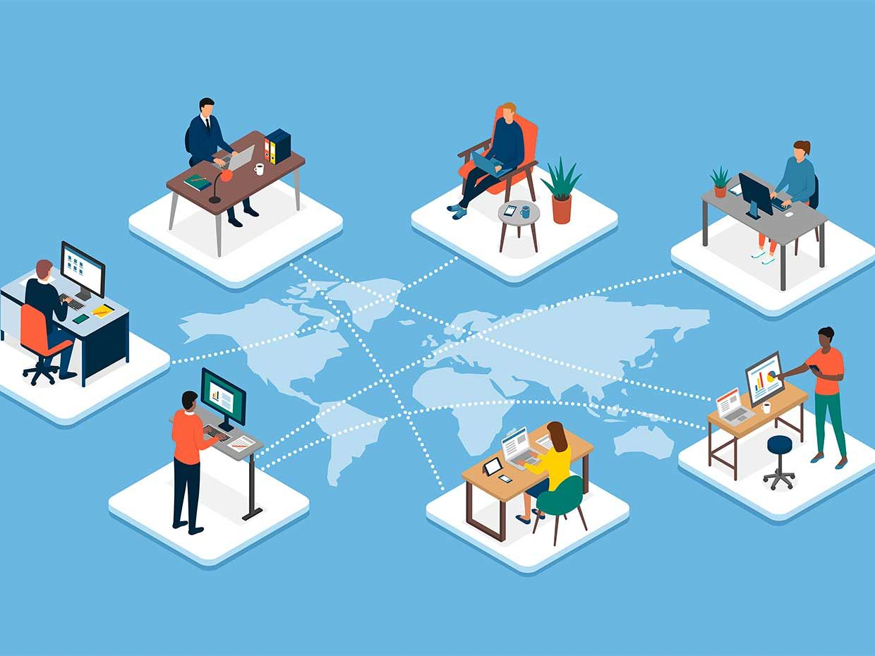 Illustration of individual workers at desks across the globe