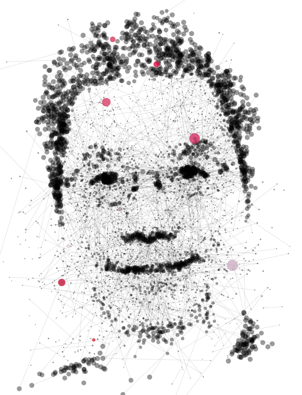 Illustration of Kai-Fu Lee made of dots and lines.