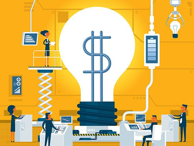 Illustration of lightbulb with dollar sign filament