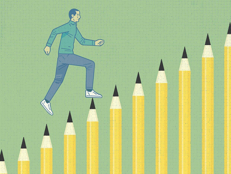 illustration of man climbing up a row of pencils.