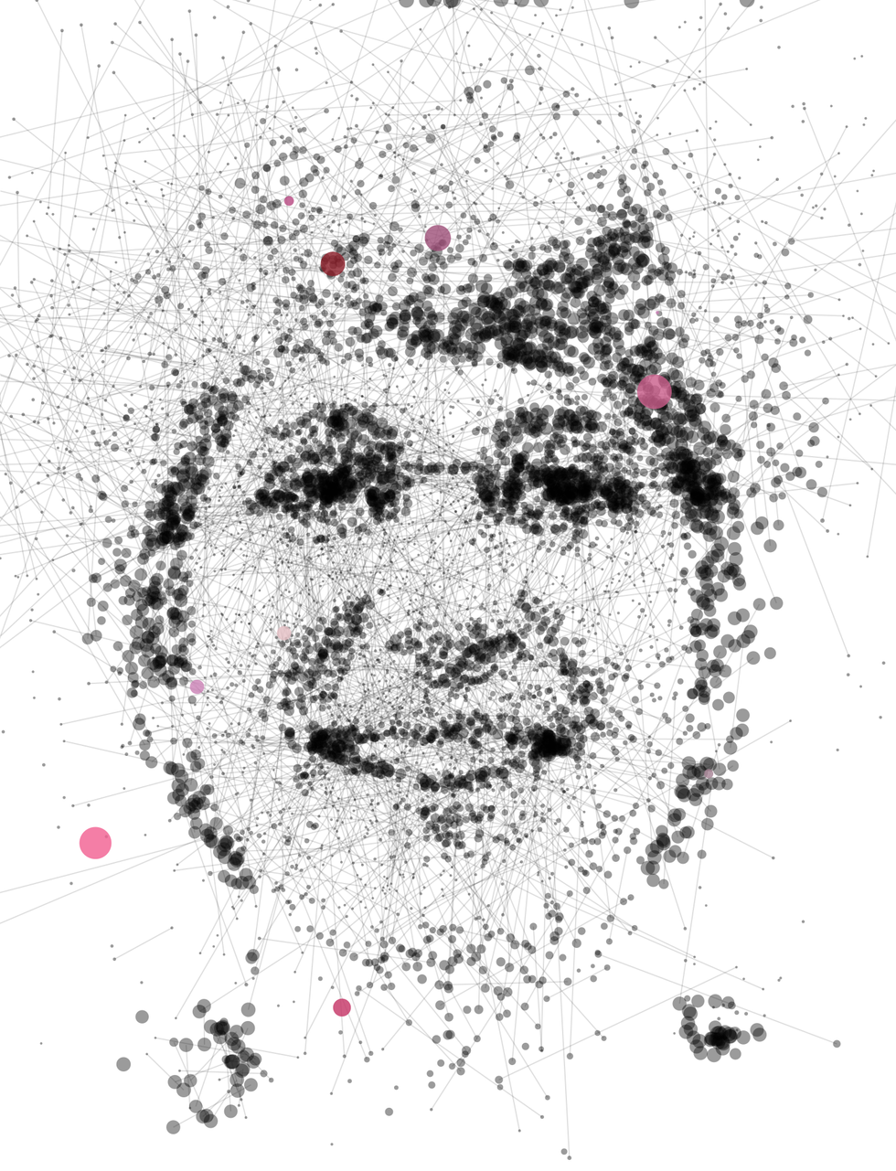 Illustration of Manuela Veloso made of dots and lines.