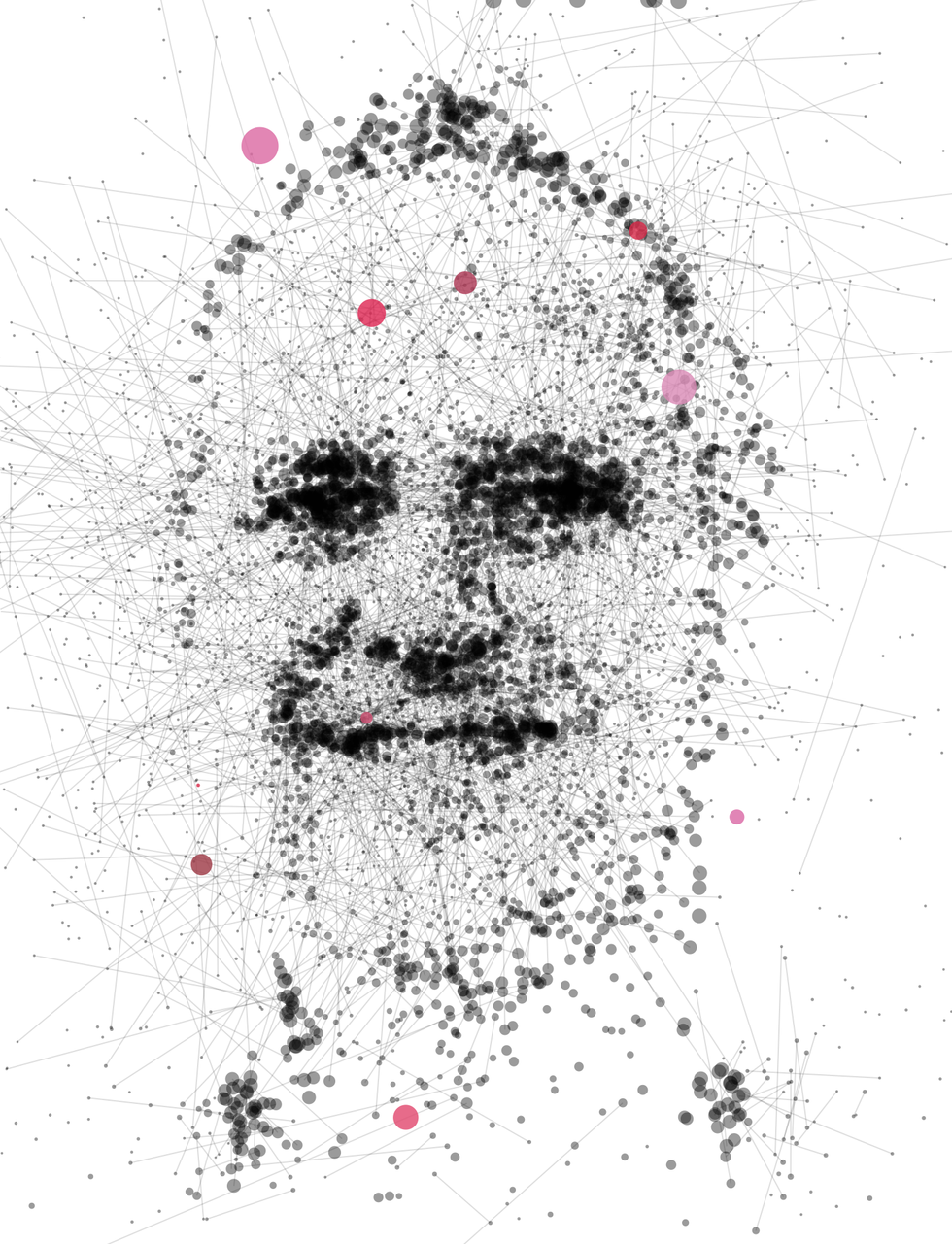 Illustration of Michael Jordan made of dots and lines.