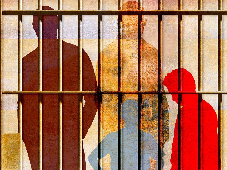 Illustration of multiple figures behind prison bars.