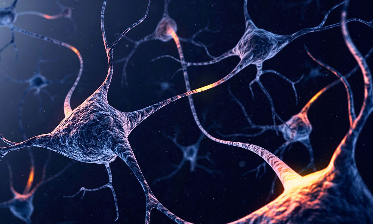 Illustration of neurons with glowing connections